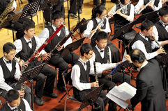 Student symphonic band perform on concert Stock Photography