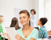 Student with tablet pc in college Royalty Free Stock Photos