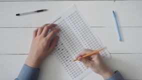 Student taking exam. Stock footage stock footage