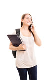 Student talking on a phone Stock Photo