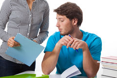 Student talking with teacher. On isolated background royalty free stock image