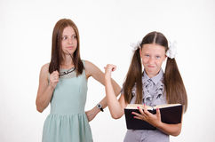 Student and teacher are angry at each other Stock Image