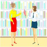 A student and teacher in the library. Lovely girl looking for books for the lesson. Next shelf of the cabinet with books. Vector stock illustration