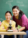 Student and teacher with microscope. Student  and teacher with microscope in science classroom Royalty Free Stock Images