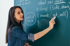 Student or teacher standing in front of the class blackboard.  royalty free stock images
