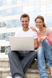 Student team with laptop Royalty Free Stock Image