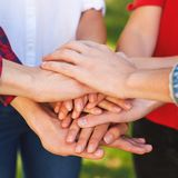 Student teamwork. Closeup of hans together stack Royalty Free Stock Photography