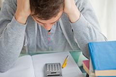 Student tearing while doing math Stock Photography
