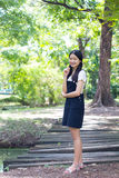 Student teen beautiful girl Dress black happy and relax Stock Photo