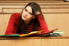 Student teen girl beautifyl tired Royalty Free Stock Photography