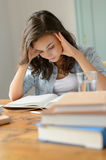 Student teenage girl concentrate reading book home Stock Images