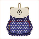 Student/teenager blue backpack in polka dot Stock Images