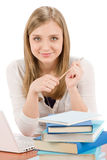 Student teenager woman with laptop book. Student teenager woman write homework with laptop book Stock Image