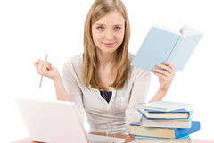 Student teenager woman with laptop book Royalty Free Stock Images