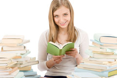 Student teenager woman read book Royalty Free Stock Photo