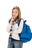 Student teenager woman with schoolbag Stock Photo