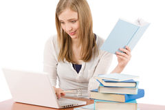 Student teenager woman watch laptop book Royalty Free Stock Images