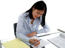 Student Testing 2. Female student intently concentrating on an English Exam Royalty Free Stock Photos