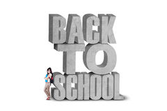 Student with text of back to school Stock Photography