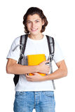 Student with a textbook and satchel Royalty Free Stock Photos