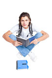 Student with a textbook and satchel Royalty Free Stock Photography