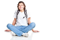 Student with a textbook and satchel Stock Images