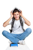 Student textbook satchel sitting. Student textbook satchel, with white background Royalty Free Stock Photos