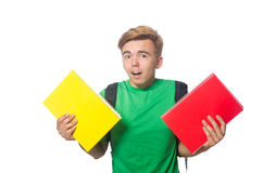 Student with textbooks isolated Stock Image