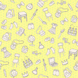 Student Things Doodle Pattern. Cute Vector Back to School Background. Stock Photo