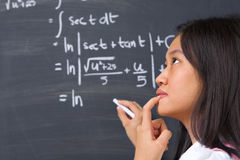 Student thinking about  mathematics problem Royalty Free Stock Image