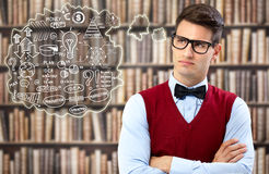 Student thinking about strategy Royalty Free Stock Images