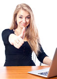 Student thumb up. Young businesswoman, secretary or student with laptop, isolated Stock Images