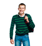Student with thumb up. Student with thumbs up isolated on white Stock Photography