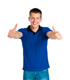 Student with thumb up. Student with thumbs up isolated on white Royalty Free Stock Image