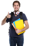 Student thumbs up young man portrait smiling people isolated. On a white background Royalty Free Stock Photos