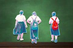 Student tillbaka till skolan på blå bakgrund Pastellfärgad signal för snabb pathMain arkivfoto
