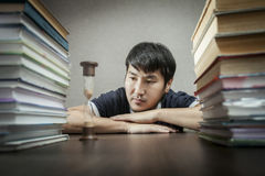 The student and time behind textbooks Stock Images