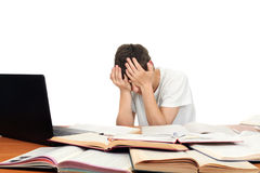 Student Tired. Sad Student on the School Desk hide his Face. Isolated on the White Stock Image