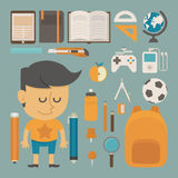 Student and tool , flat design stock illustration