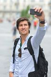 Student / tourist taking self portrait Royalty Free Stock Images