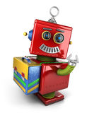 Student toy robot. Happy vintage toy robot with satchel waving over white background Royalty Free Stock Photography