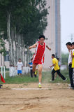 Student Track and Field Games/ The triple jump royalty free stock images