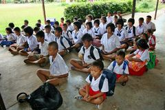 Student is training the concentration. UDONTHANI, THAILAND – MAY 16, 2018:  Students,  sit for training the concentrate,  be morality of Buddhism,  that they Stock Photo
