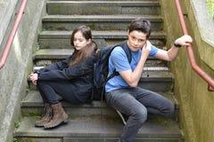 Student truants. Teenagers do not  go to school Stock Photo