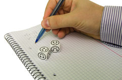Student trying to solve mathematical equation without success. Sad dices - stock photo stock photography