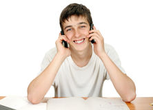 Student with Two Phones Stock Photography