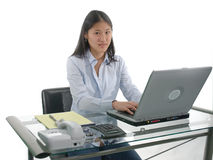 Student Typing. A female student at her desk with hands on the laptop keyboard isolated over white stock images