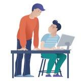 Student und Lehrer an der Informatiklektion lizenzfreie abbildung