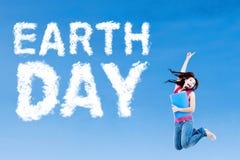 Student und Tag der Erde-Text Stockfotos