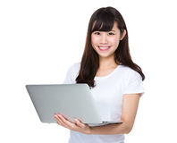 Student use of laptop computer Royalty Free Stock Photos